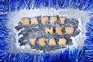 Обои Новый год Печенье Сахарная пудра Английский Дизайн Слово - Надпись Еда