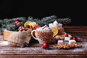 Картинки Рождество Печенье Доски Чашке Зефирки Шар Пища