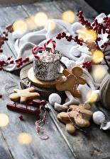 Фотография Новый год Печенье Доски Дизайн Маршмэллоу Еда
