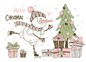Фото Новый год Подарки Новогодняя ёлка Текст Английский Снеговики Коробка
