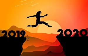 Обои Новый год Прыжок Силуэт 2020 2019