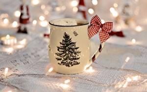 Фото Рождество Кружка Новогодняя ёлка Бантик