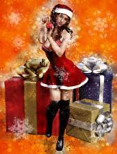 Обои для рабочего стола Новый год Рисованные Подарки Снежинки Шапки Униформа Девушки