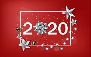 Фото Новый год Красный фон Гирлянда Звездочки 2020