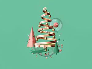 Обои Новый год Лента Шарики Елка Цветной фон 3D Графика