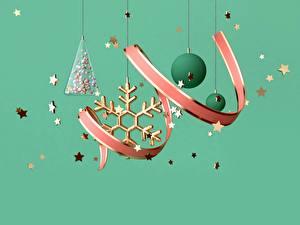 Картинки Новый год Лента Шарики Снежинки Звездочки Цветной фон 3D Графика