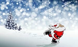 Фотографии Новый год Снежинки Дед Мороз Коньки Борода
