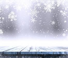 Обои Новый год Снежинки Доски Шаблон поздравительной открытки