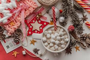 Фотография Новый год Звездочки Шишки Шарики Колокольчики Бантик Маршмэллоу