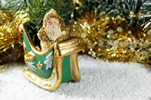 Картинка Новый год Игрушки Дед Мороз Сани