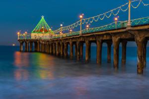 Картинки Рождество США Причалы Вечер Калифорния Гирлянда Залива Manhattan Beach Природа