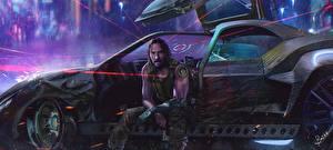 Обои для рабочего стола Киберпанк 2077 Киану Ривз Мужчины Сидя компьютерная игра Знаменитости Автомобили Фэнтези