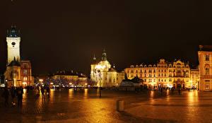 Фото Чехия Прага Здания Городской площади Уличные фонари В ночи Prague Square город
