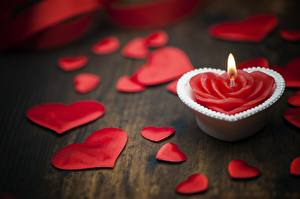 Картинка Пламя Свечи День святого Валентина Сердце