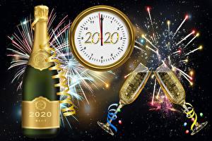 Картинки Салют Шампанское Циферблат Новый год Бокалы 2020 Бутылка