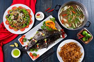 Обои Рыба Супы Салаты Овощи Тарелка Макароны Еда