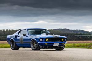 Картинка Форд Синяя Металлик 1969 Mustang Mach 1 машины