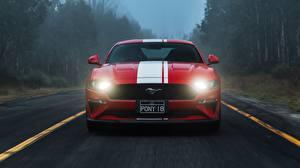 Обои Форд Спереди Полосатый Красная 2018 Mustang GT авто