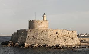 Картинка Греция Маяки Agios Nikolaos fortress on the Mandraki город