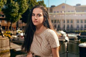 Картинки Волос Шатенки Смотрит Боке девушка