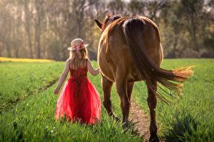Картинка Лошадь Траве Вид сзади Девочка Шляпы Платья ребёнок
