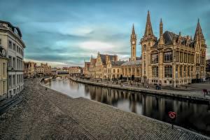 Картинка Здания Гент Бельгия Водный канал город