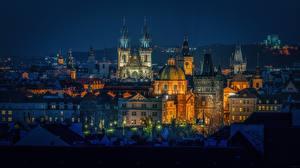 Картинки Дома Прага Чехия Ночь Купол Города