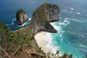 Картинки Индонезия Остров Море Пляжа Утес Bali, Kelingking Beach, Nusa Penida