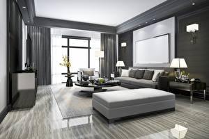 Картинки Интерьер Комната Окна Лампы ТВ Дизайн Гостиная 3D Графика