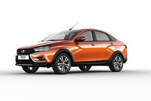 Фото Лада Сбоку Белом фоне Оранжевая Металлик Седан 2018 Vesta Cross авто