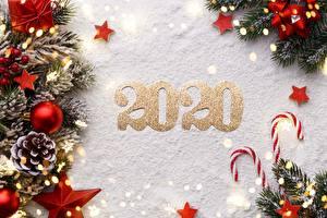 Фотографии Леденцы Рождество Снега Шар Шишка Ветвь Звездочки 2020