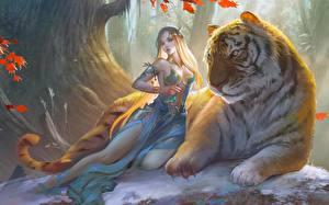 Картинки Волшебные животные Тигры Эльф Красивый Фэнтези Дети