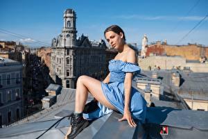 Картинка Краши Сидящие Ног Позирует Платья Боке Maxim Ivanov девушка
