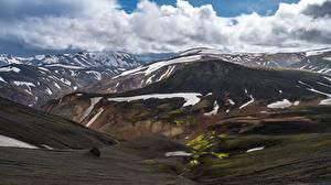 Обои Гора Исландия Облачно Landmannalaugar