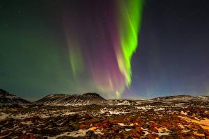 Обои для рабочего стола Норвегия Полярное сияние В ночи Холмов Природа