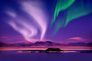 Фотография Норвегия Небо Речка Ночные Северное сияние Холм