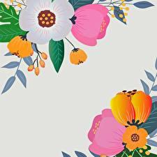 Картинка Рисованные Серый фон Шаблон поздравительной открытки Цветы