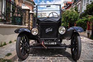Фотографии Винтаж Ford Спереди Черные Фары Колеса Model T Автомобили