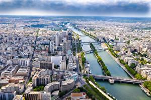 Обои для рабочего стола Реки Здания Мосты Франция Париж Сверху Seine Города