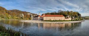 Фотографии Реки Монастырь Германия Бавария Weltenburg Abbey, Danube Города