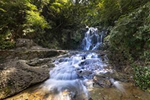 Картинка Река Камни Водопады Природа