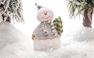 Обои Снеговик Шапка Шарфе Снега