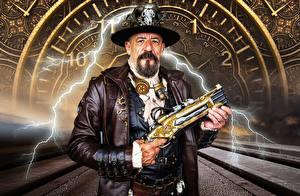 Картинка Стимпанк Мужчины Пистолет Шляпе Бородой Молния Руки Косплей