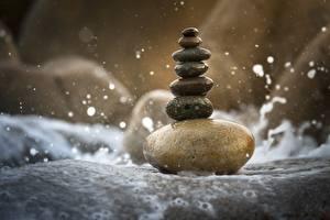 Обои для рабочего стола Камень Влажные Боке Равновесие Баланс Природа