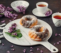 Фотографии Чай Кекс Сирень Сахарная пудра Чашка Продукты питания