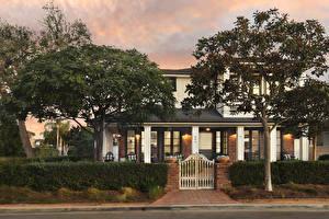Обои Штаты Здания Особняк Дизайна Дерево Кустов Newport Beach город