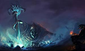 Фото Нечисть Dark Souls III Скелет Мечи Фан АРТ Игры Фэнтези