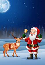 Картинки Векторная графика Новый год Олени Дед Мороз Колокольчики