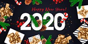 Обои Векторная графика Новый год Леденцы 2020 Английский Ветки Шишки