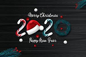 Картинка Векторная графика Новый год Леденцы 2020 Английский Шапки